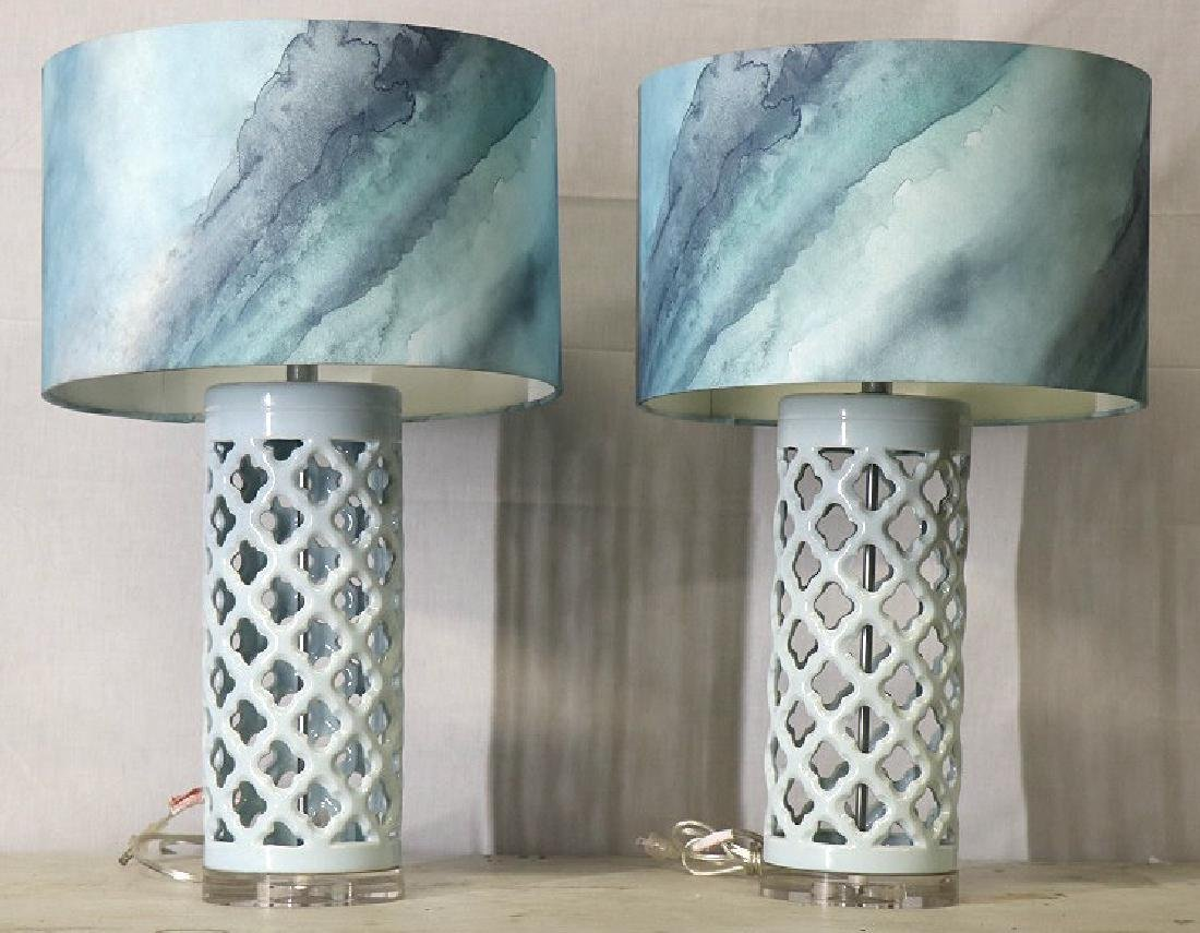 PAIR OF BLUE & WHITE CONTEMPORARY LAMPS