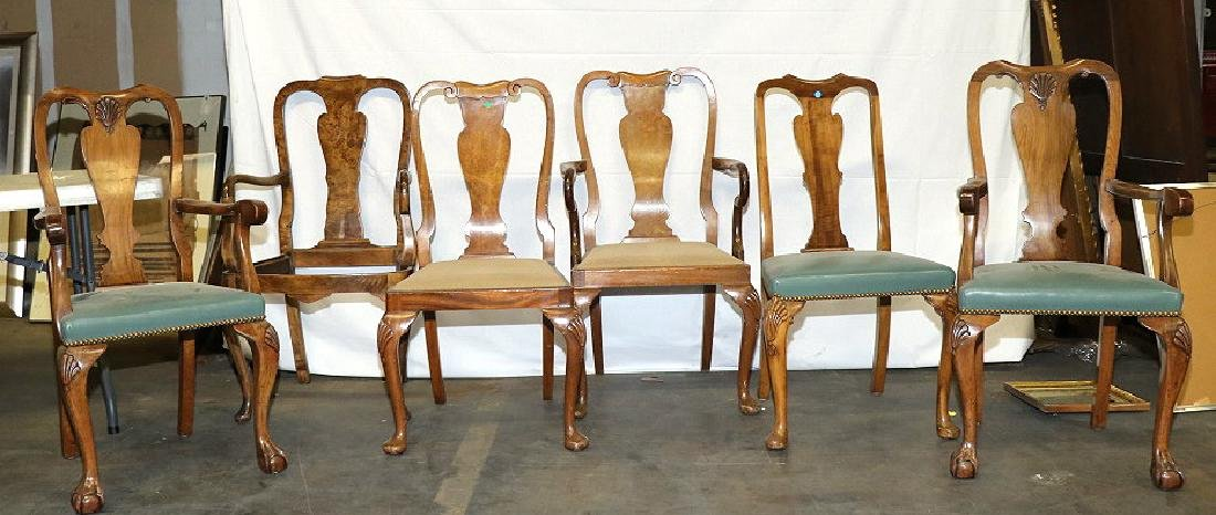 MIXED LOT OF SIXE QUEEN ANNE STYLE DINING CHAIRS