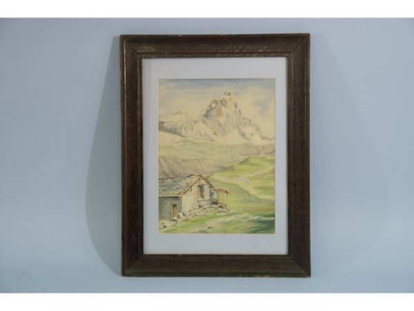 1012: Watercolor of a mountain scene. Signed J.C. Graha