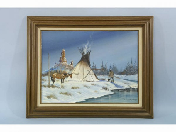 1013: Oil on canvas of a western scene.
