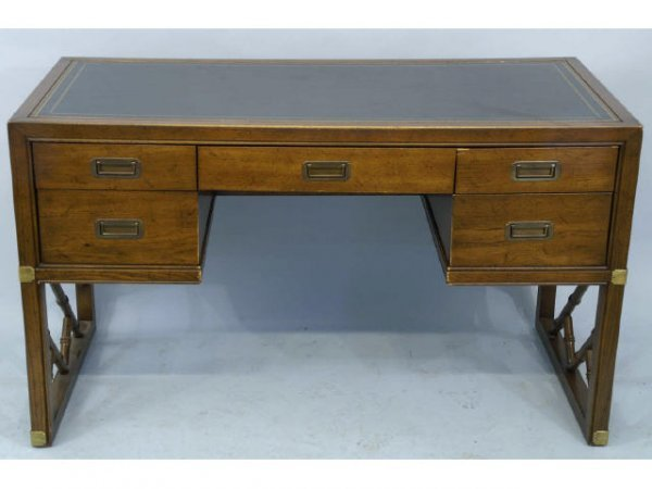 1018: Kneehole desk with tooled leather top