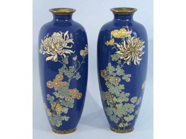 1111: Pair of blue cloissone vases.