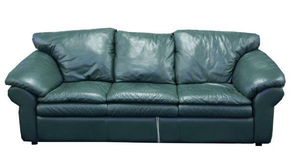"1021: Green leather sofa. Size: 88"" x 36"" x 37."""
