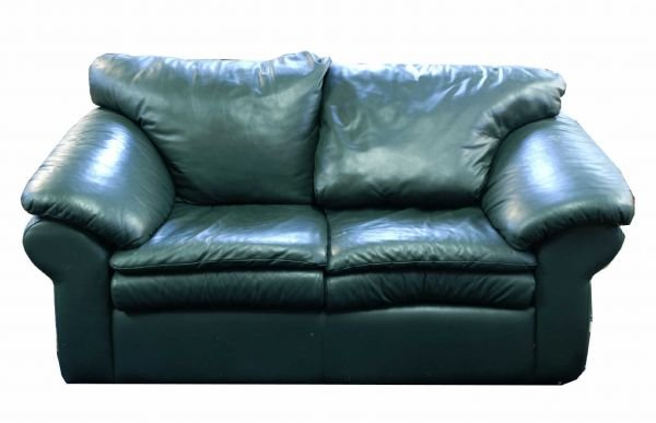 """1021A: Green leather settee. Size: 68"""" x 36"""" x 37."""""""