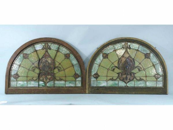 2011: 19th Century Pair of semi-circular stain glass