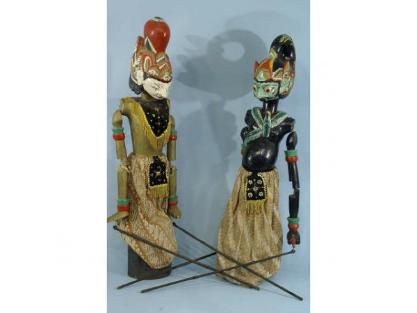2012: A very unique pair of Balinese stick puppets in
