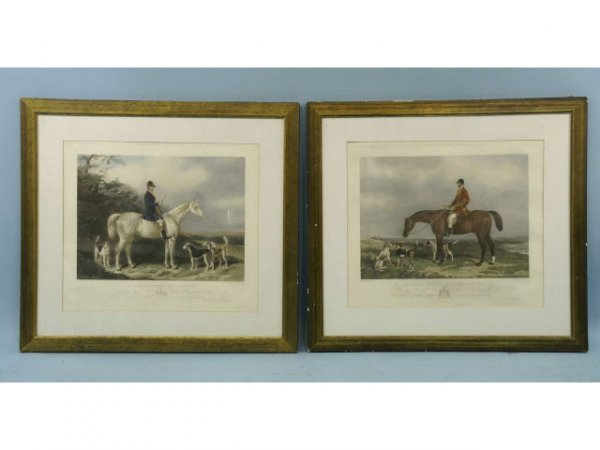 2013: Pair of antique hand-colored engraving .