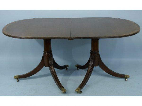 2016: Georgian style double pedestal banded mahogany di