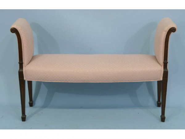 2020: Upholstered bench with scrolled arms and spade fe