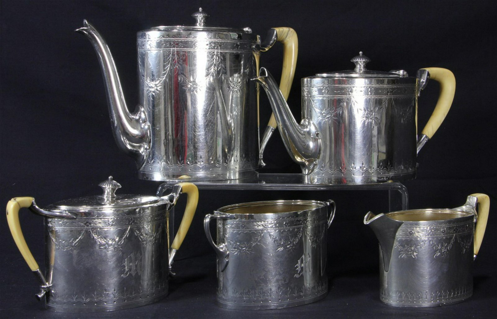 19th CENTURY STERLING SILVER COFFEE/TEA SET