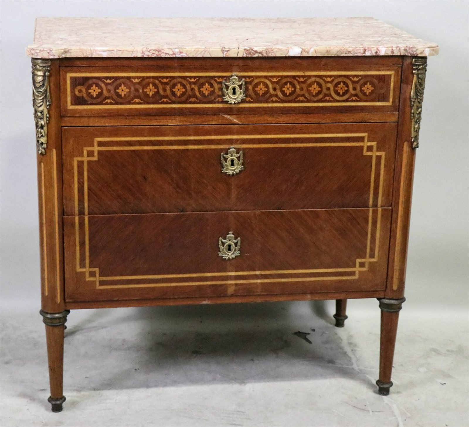 19th CENTURY FRENCH MAHOGANY MARBLE TOP CHEST