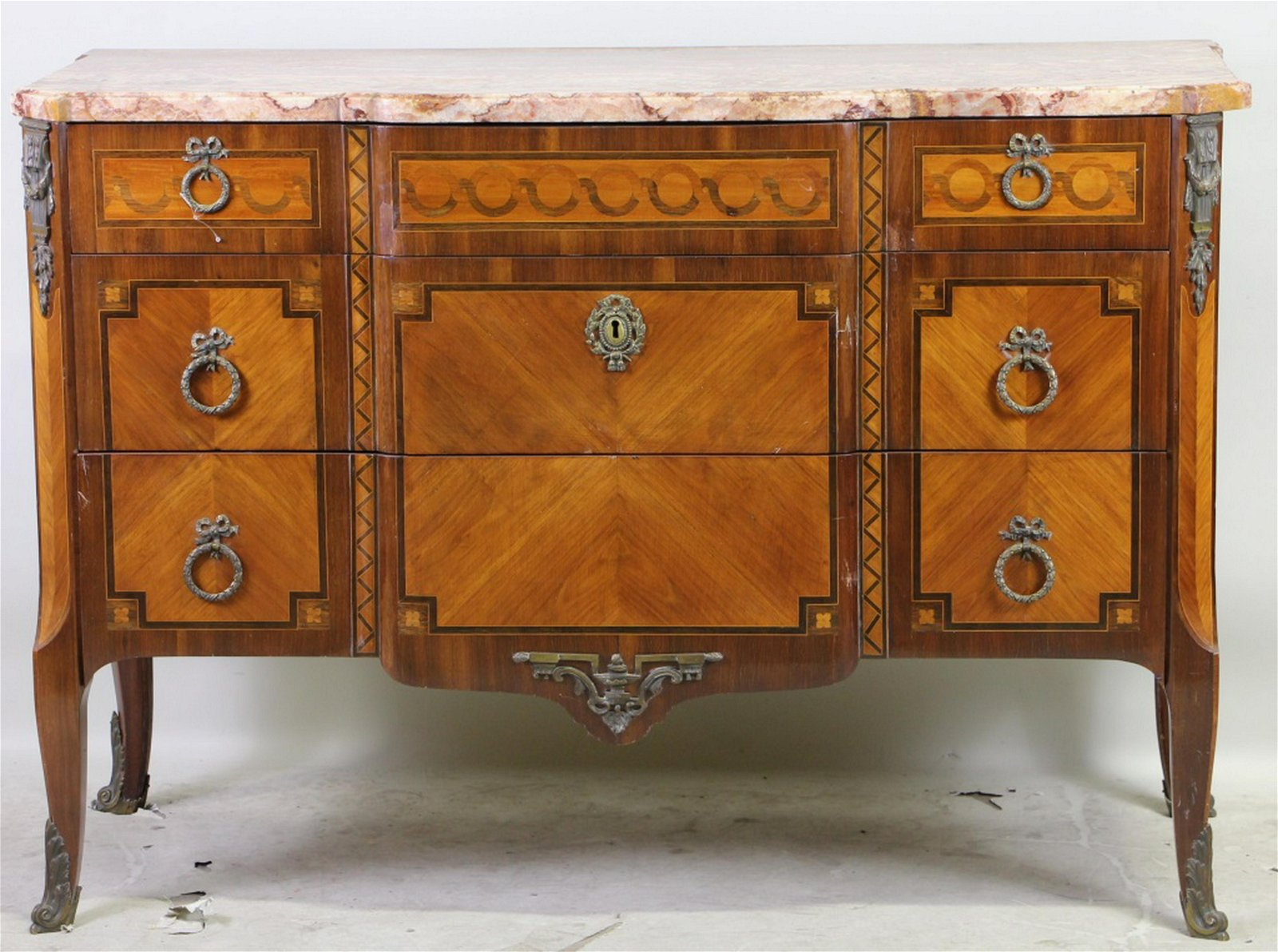 LOUIS XVI STYLE COMMODE WITH MARBLE TOP