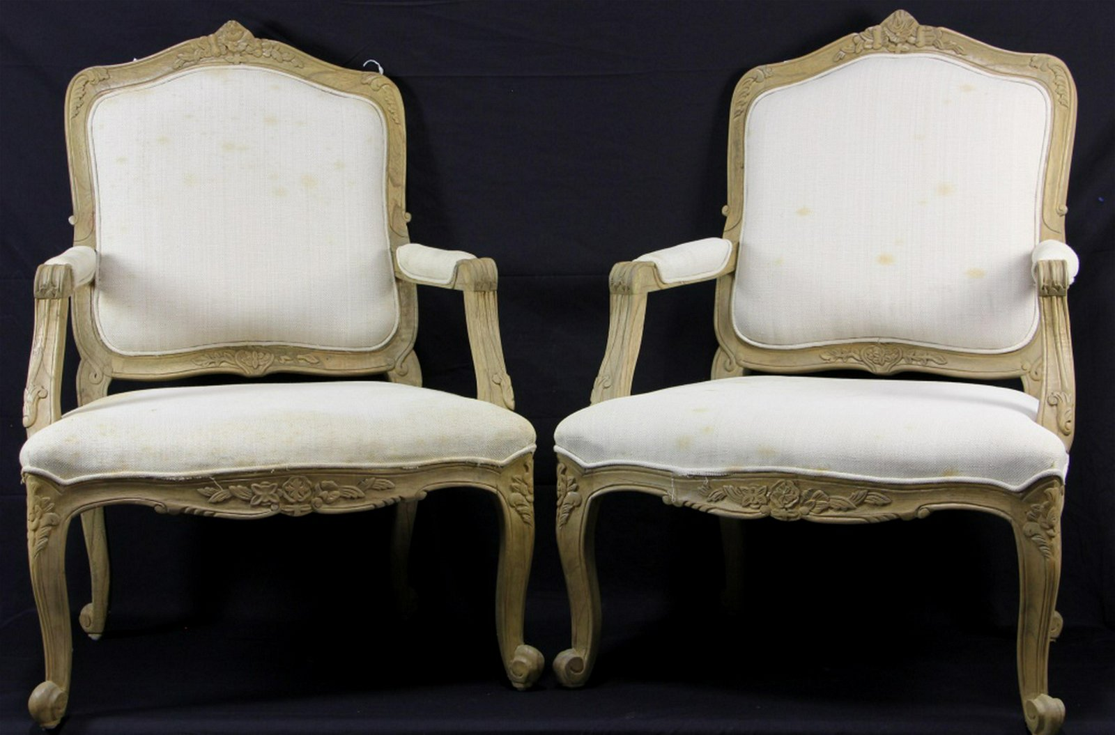 PAIR OF FRENCH STYLE CARVED & PICKLED ARMCHAIR