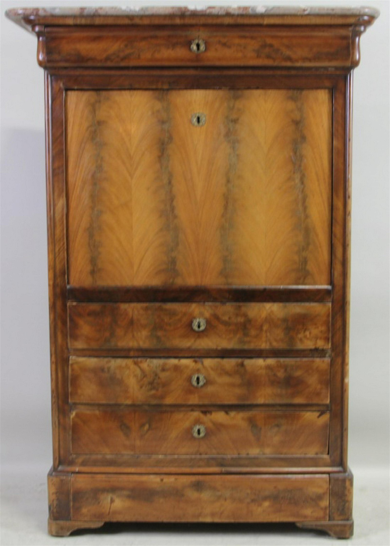 c.1870'S LOUIS PHILIPPE SECRETARY WITH MARBLE TOP