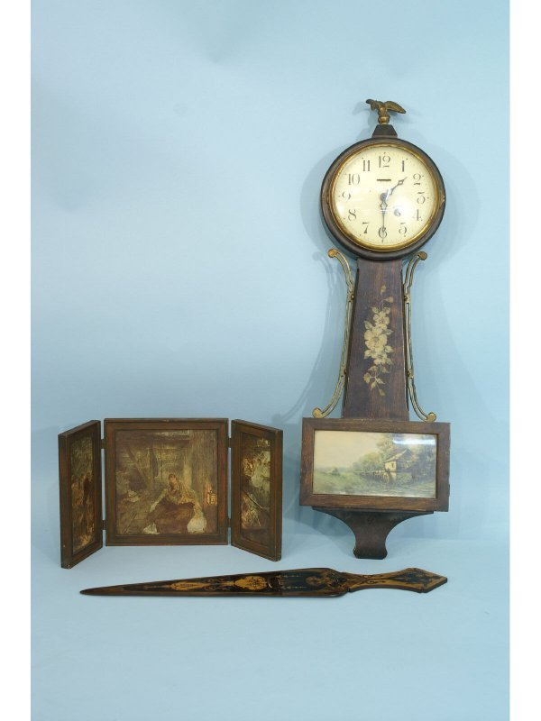 1001: Antique clock, inlaid page-turner, small tri-fold