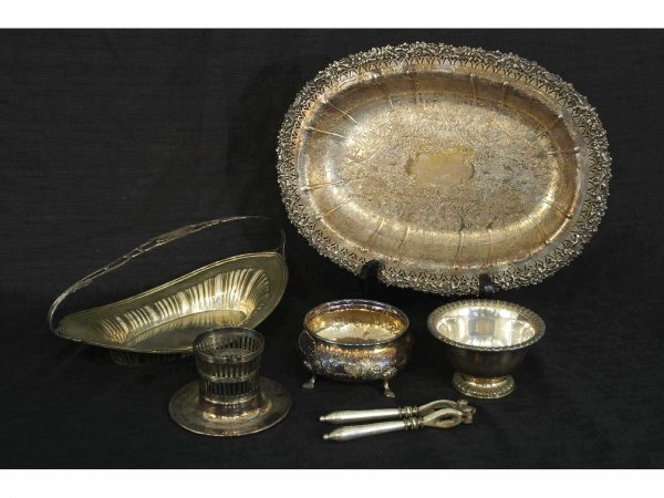 1010: 6 piece assorted silver plate containers.  1 14x1