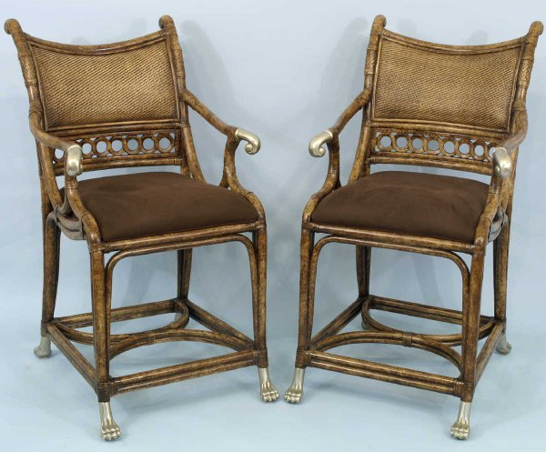 1021: Pair of brown rattan pub chairs.  23w x 42h x 21w
