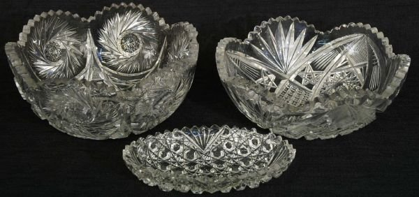 "1003: 3 piece cut glass bowls.  Two 8"" round, One 7"""