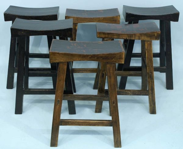 1015A: Group of 6 Chinese stools: 3 painted black and 3
