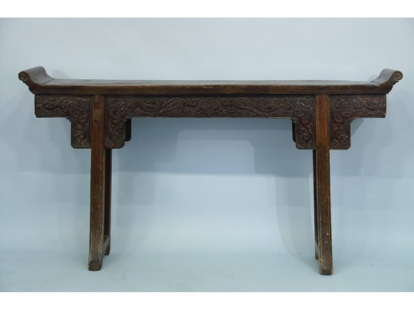 2019: 19TH CENTURY CHINESE CARVED WOOD CONSOLE TABLE