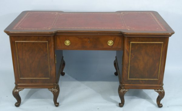 2020: ANTIQUE CHERRY DESK WITH TOOLED LEATHER TOP
