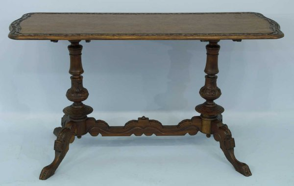 2021: ORNATELY CARVED OAK CONSOLE TABLE