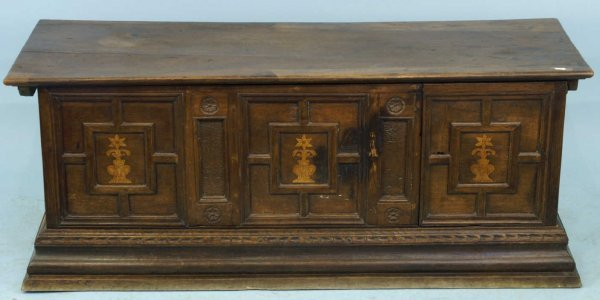 2177: 18TH CENTURY ITALIAN WOODEN TRUNK WITH DRAWERS