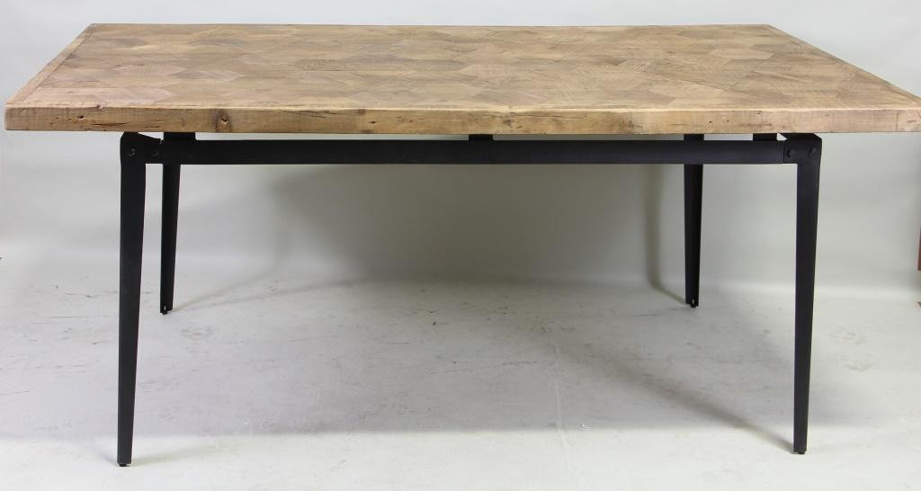 CONTEMPORARY PINE TOP METAL BASE DINING TABLE