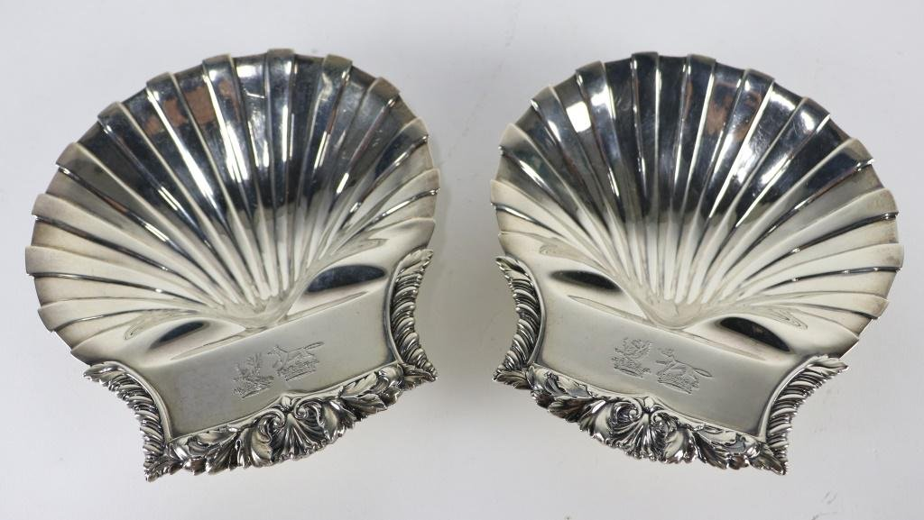 PAIR OF STERLING SILVER CLAM SHELL DISHES