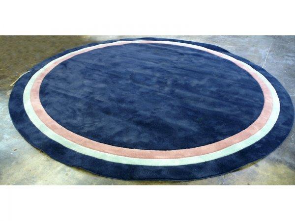 3006: LARGE ORIENTAL DESIGN, ROUND NAVY BLUE RUG