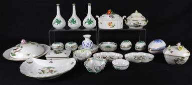 28 PIECE MIXED BOX LOT OF HEREND PORCELAIN FROM  THE