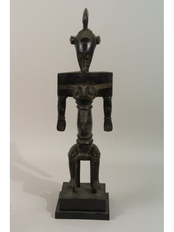 6: AFRICAN FEMALE SEATED FIGURE IN WOOD