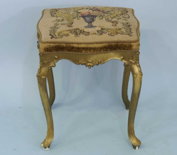 7: SMALL STOOL WITH GILT LEGS AND NEEDLEPOINT SEAT