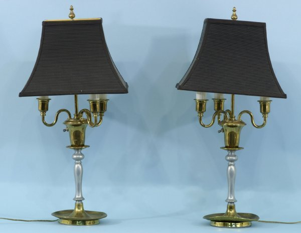 11: PAIR OF BRASS LAMPS WITH BLACK SHADES