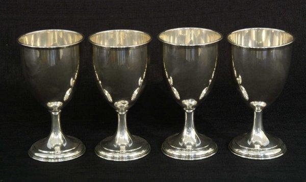 14: SET OF 4 STERLING SILVER GOBLETS