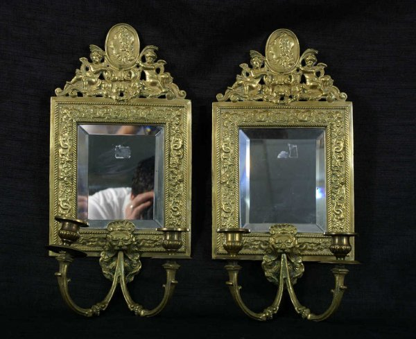 16: PAIR OF ANTIQUE BRASS WALL SCONCES