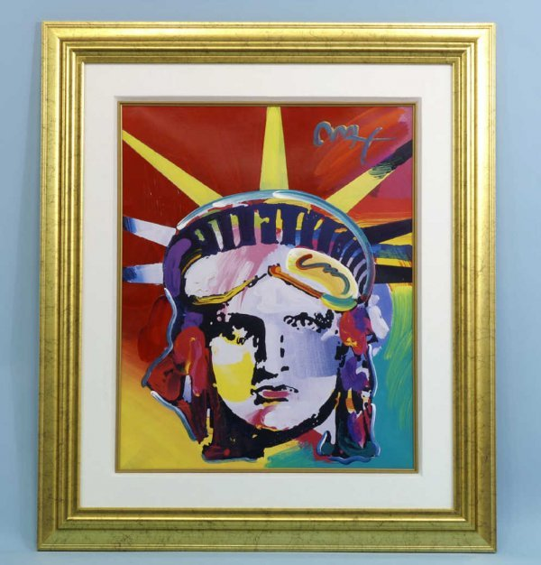 """19A: FRAMED MIXED MEDIA SIGNED """"MAX"""" ( PETER MAX )"""