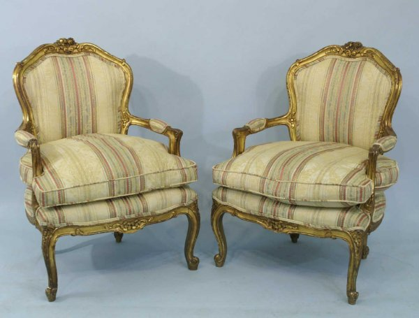 61: PAIR OF ANTIQUE FRENCH GILT ARMCHAIRS
