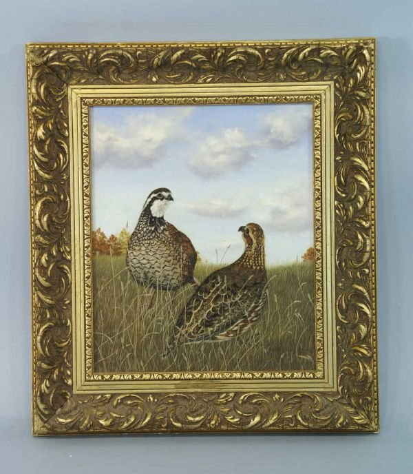11B: SMALL OIL ON CANVAS OF QUAIL IN A FIELD.
