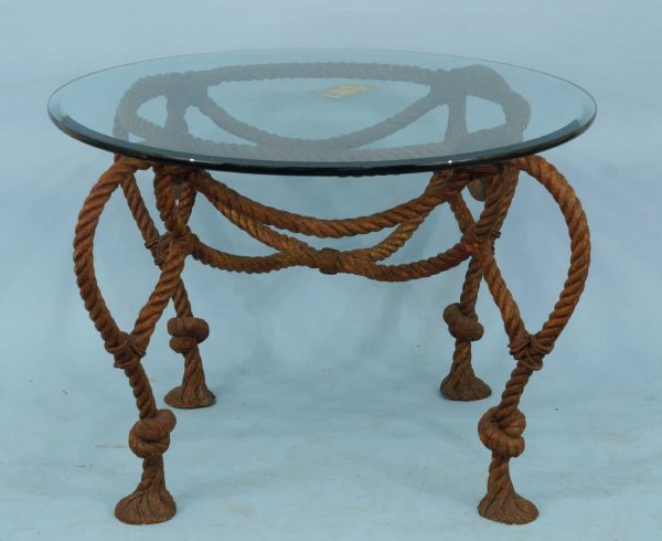 1015: ROUND TABLE WITH ROPE TWIST IRON BASE