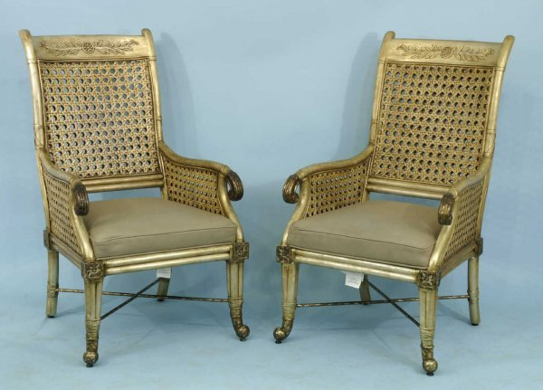 1016: SET OF SIX RATTAN ARMCHAIRS