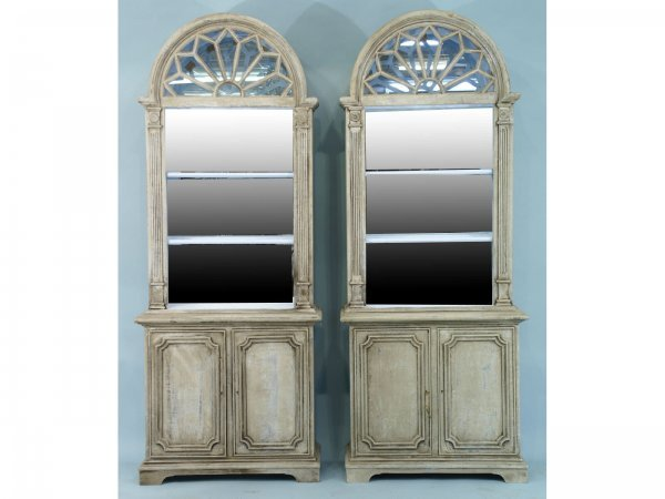 1017: PAIR OF FAUX PAINTED CABINETS WITH DOWMNED TOPS