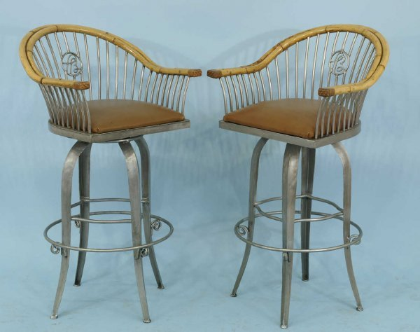 1018: SET OF FOUR BAMBOO AND METAL BARSTOOLS