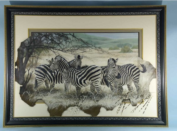1124: HAND PAINTED FRAMED AND MATTED PAINTING OF ZEBRAS