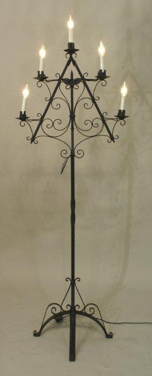 2010: 5-LIGHT WROUGHT IRON CANDELABRA FLOOR LAMP