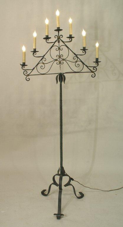 2011: 7-LIGHT WROUGHT IRON CANDELABRA FLOOR LAMP