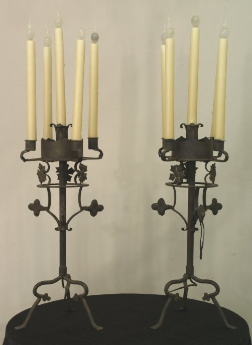 2012: PAIR OF VINTAGE 5-LIGHT WROUGHT IRON CANDELABRA