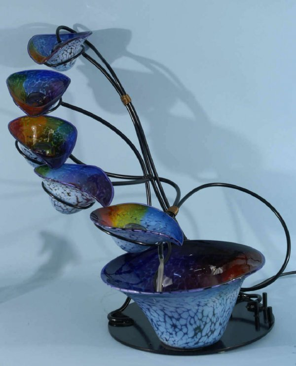 2117: GROUP OF 7 ART GLASS FOUNTAIN BOWLS