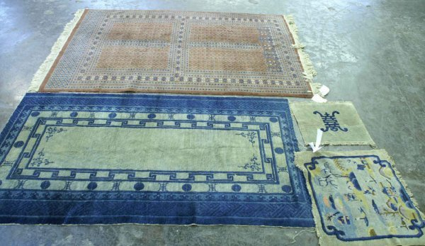 3: FOUR SMALL AREA RUGS.  3 BLUE & WHITE, 1 RED RUG