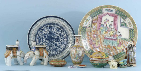 4: BOX LOT OF PAINTED PORCELAIN